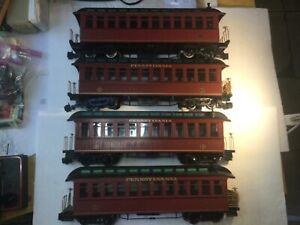 4 Bachmann G Scale Lighted Pennsylvania Passenger / Coach Cars (2 #15, 2 #21)NR!