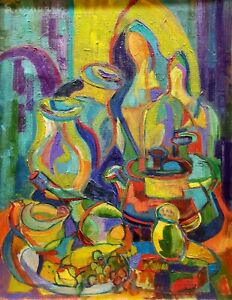 Lester Schultz Oil Painting Abstract Cubism Still Life Signed, Framed American