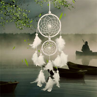 White Dream Catcher Circular With Feathers Wall Hanging Decoration Decor Craf UN