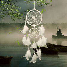 White Dream Catcher Circular With Feather Wall Hanging Decoration Decor Craft SM