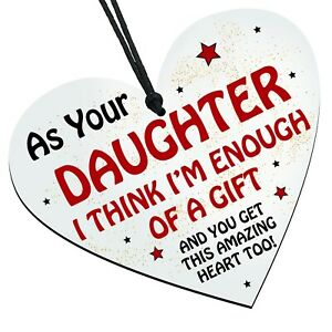 Funny Fathers Day Dad Wooden Heart - Enough of a Gift From Daughter - Birthday