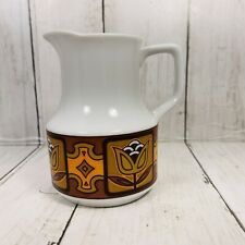 Vintage Ceramic Tulips Mod Retro  Mid century pitcher creamer Orange Browns Tan
