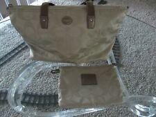 Coach Signature C Nylon Packable Weekender Tote Bag Tan / Pink Small Wallet NWOT