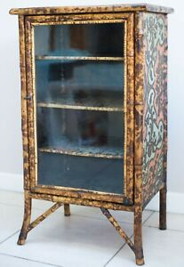 Victorian Chinoiserie Glazed Tiger Bamboo Display Cabinet, Bookcase.