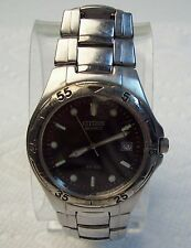 Men's CITIZEN Quartz Silvertone & Black Watch WR100 - as is