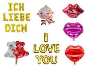 Valentinstag Folienballon Herzballons I Love You Ich Liebe Dich Kuss Ballons