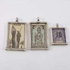 Haute-Volta Togo Africa Stamps in Sterling Silver Cases Pendant LDK4
