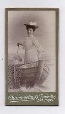 PHOTO Mignonette CDV Chamberlin Trouville Sur Mer Femme Ombrelle Barque 1900