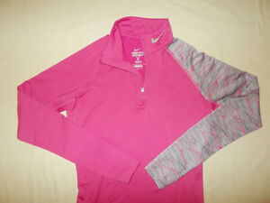 NIKE PRO COMBAT 1/4 ZIP LONG SLEEVE PINK FITTED TOP WOMENS MEDIUM EXCELLENT COND