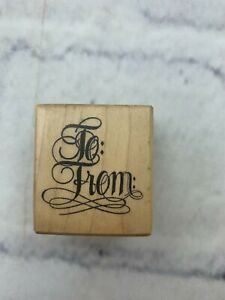 """Petaluma PSX Designs To: From: Wooden Rubber Stamp C-721 1.5x1.5"""" Collectibles"""