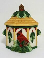 LENOX WINTER GREETINGS CARDINALS BISQUE PORCELAIN SUGAR BOWL w/LID