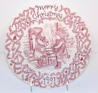 Royal Crownford by Norma Sherman Staffordshire England 1991 Red Christmas Plate