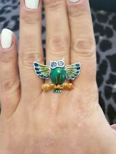 Gorgeous owl Ring. 925 Silver Enamel And Topaz. Size N.