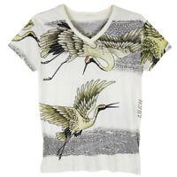 Crane Bird Japanese Temporary Art Irezumi Tattoo WORK #WK169 Men White T-Shirt