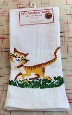 HAPPY CAT - Retro Vintage Style Cotton Flour Sack 50's Kitchen Towels