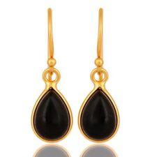 18k Gold Plated 925 Silver Black Onyx Gemstone Drop Earring Fashion Jewelry
