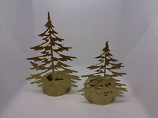 BNWT SET OF 2 YANKEE CANDLE GOLD COLOURED FIR TREE TEA LIGHT  HOLDERS~CHRISTMAS