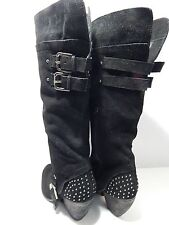 NAUGHTY MONKEY - Women's Sz 6 M - Black Suede - Studs and Buckles - Side Zipper