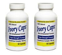 2 IVORY CAPS Glutathione Skin Whitening Max BioActive 1500mg 120 Caps Exp06/2020