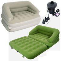 JILONG 5in1 MULTI FUNCTIONAL INFLATABLE SOFA AIR BED + ELECTRIC PUMP Beige/Green