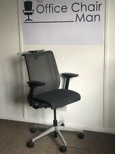 Steelcase Think V1 Task Chair With Coat Hanger Grey Cloth 4D Arms & Adj Lumbar