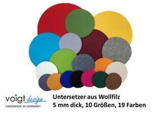 Untersetzer WOLLFILZ 5 mm rund 10 Größen 19 Farben Glas Flasche Topf Tisch Regal