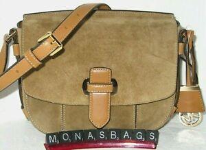 Michael Kors Romy Desert Suede & Saddle Leather Medium Crossbody Bag NWT $298