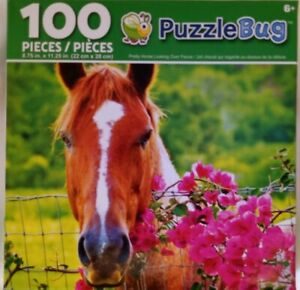 PuzzleBug Jigsaw Puzzle Horse & Flowers 100 Pieces RARE out-of-print NEW SEALED