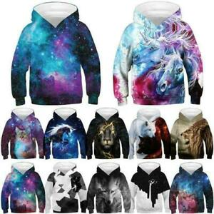 Kids Boys/Girls Unicorn Wolf Galaxy 3D Printed Hoodie Sweatshirt Pullover Jumper