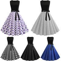 Women's Casual Retro Style Polka Dot Swing Dress 50s Pinup Rockabilly Housewife