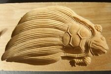 19ksg116 JAPANESE KASHIGATA CAKE MOLD TURTLE WOOD CARVED VINTAGE