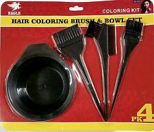 Hair Dye Color Brush Bowl Combo Coloring Brush Kit 4 pcs Set Tint Tool Bleach