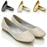 New Womens Diamante Bridal Ladies Sparkly Bridesmaid Ballerina Pumps Shoes Size