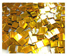"""110 Mosaic Tiles 1/2"""" SPARKLING GOLD MIRRORS Premium MIRROR Stained Glass"""