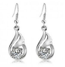 Stylish White Gold Plated with White Zircon Angel Wings Drop Earrings E189