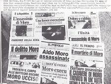 Assassinat de Aldo Moro en unes des journaux romains Original Vintage 9 Mai 1978