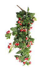 3 X Artificial Red / Cream Trailing Fuchsia Flowering Plant Outdoor Faux Flowers