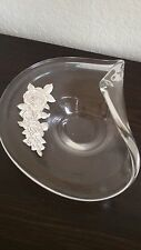Modernist CRYSTAL BOWL STERLING SILVER ROSES  Argenti 925 ITALY Folded Art Glass