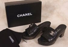 Authentic CHANEL Black Quilted Leather Platform Chunky Heel CC Clogs Mules Sz 38