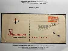 1955 Shannon Free Airport Ireland Airmail Cover To New York USA