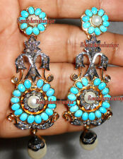 Turquoise Pearl Attractive Dangle Earrings 1.18ct Real Antique Rose Cut Diamond