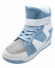 LADIES BLUE WHITE HIDDEN WEDGE LACE-UP DIAMANTE ANKLE BOOTS TRAINER SHOES 3-8