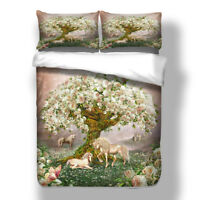 Unicorn Animal Quilt Doona Duvet Cover Set Single/Queen/King Size Bedding Linen