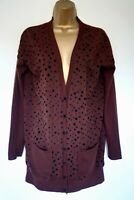 Hobbs Unlimited Brown Wool Hip Length Cardigan Sz S Black Spotted Vgc! Loose fit