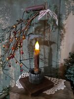 PRIMITIVE VINTAGE WOOD RUSTIC CHRISTMAS BATTERY OPERATED CANDLE TIN WIRE LANTERN