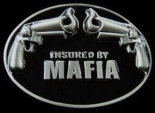 INSURED BY MAFIA UNDERWORLD COSA NOSTRA ORGANIZATION BELT BUCKLE BOUCLE CEINTURE