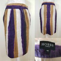 Hobbs Black Purple White Watercolour Stripe Midi Pencil Skirt Size 10 Pockets