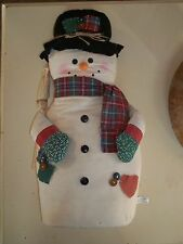"""Cloth Weighted Bottom 18"""" Tall with Broom & Patches Decorative Snowman"""