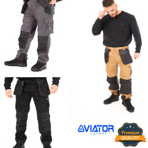Men Heavy Duty Pro Work Trousers With Kneepad & Multi Pocket Cargo Holster Style