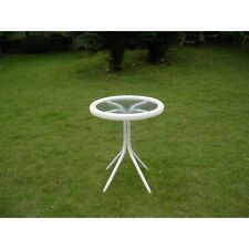 International Caravan Outdoor Resin Wicker and Glass-top Bistro Table, White